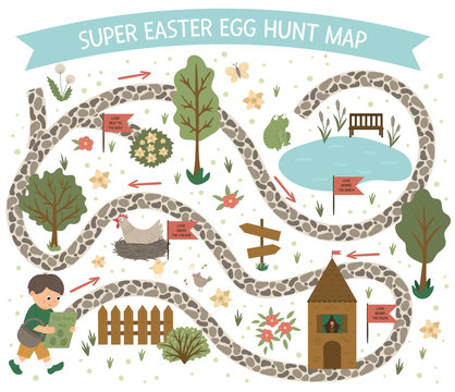 Easter egg hunt map. Set of flat spring cartoon elements. Vector garden scene with cute house, fence, colored eggs, pond. .