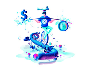 inner balance in hand harmony between money dollar sign and time clock man circus performer riding unicycle rope management