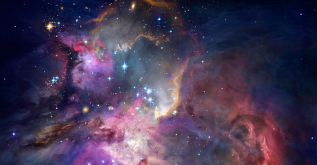 Nebula and galaxies in space. Abstract cosmos background