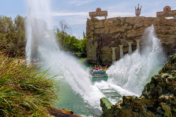 Castelnuovo del Garda, Italy - August 13 2019: Fuga da Atlantide. Gardaland Theme Park in Castelnuovo Del Garda, Verona, Italy