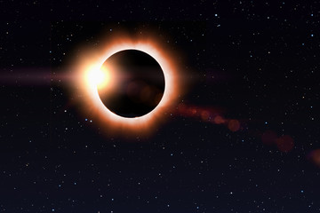 Solar eclipse at starry sky.Last sunlight beam behind Moon