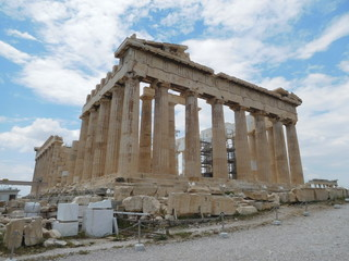 Fotobehang Acropolis in Athens on a sunny day with some cloud