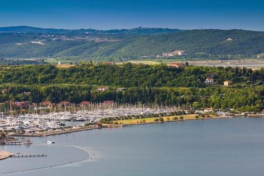 Overlooking the Adriatic coast in Portoroz,Marina Istria, Adria Slovenia,