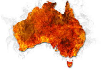 Wall Mural - Australia bushfires Map. Conceptual: save australian wildlife, global warming, natural disaster, climate change isolated on white background.