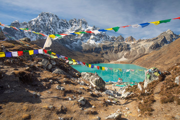 The Famous Lake of Gokyo in Nepal near Everest Base Camp Wall mural