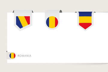 Wall Mural - Label flag collection of Romania in different shape. Ribbon flag template of Romania