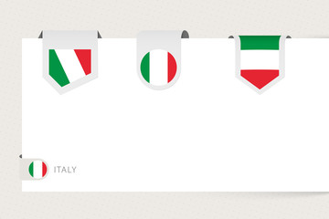 Wall Mural - Label flag collection of Italy in different shape. Ribbon flag template of Italy