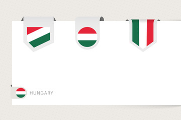 Wall Mural - Label flag collection of Hungary in different shape. Ribbon flag template of Hungary
