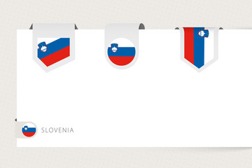 Wall Mural - Label flag collection of Slovenia in different shape. Ribbon flag template of Slovenia