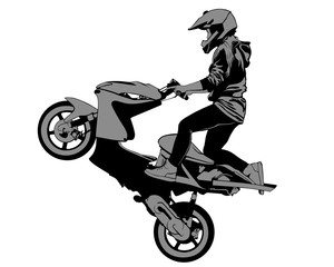 Wall Mural - Young girl on a scooter performs tricks. Isolated silhouette on a white background