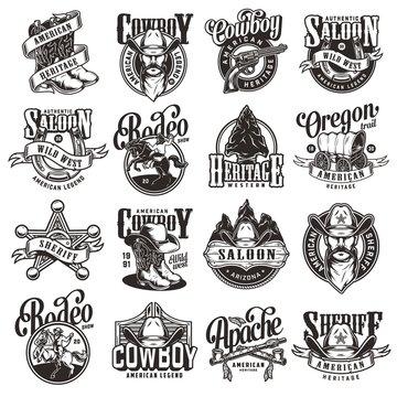 Vintage wild west emblems collection