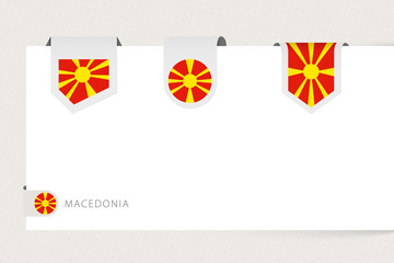 Wall Mural - Label flag collection of Macedonia in different shape. Ribbon flag template of North Macedonia