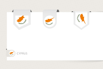 Wall Mural - Label flag collection of Cyprus in different shape. Ribbon flag template of Cyprus