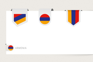 Wall Mural - Label flag collection of Armenia in different shape. Ribbon flag template of Armenia