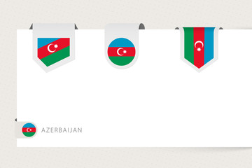 Wall Mural - Label flag collection of Azerbaijan in different shape. Ribbon flag template of Azerbaijan