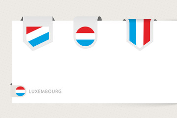 Wall Mural - Label flag collection of Luxembourg in different shape. Ribbon flag template of Luxembourg