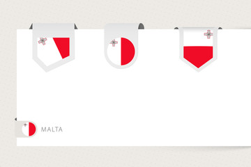 Wall Mural - Label flag collection of Malta in different shape. Ribbon flag template of Malta