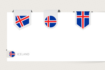 Wall Mural - Label flag collection of Iceland in different shape. Ribbon flag template of Iceland