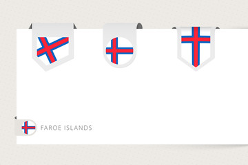 Wall Mural - Label flag collection of Faroe Islands in different shape. Ribbon flag template of Faroe Islands