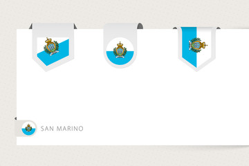 Wall Mural - Label flag collection of San Marino in different shape. Ribbon flag template of San Marino
