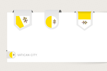 Wall Mural - Label flag collection of Vatican City in different shape. Ribbon flag template of Vatican City