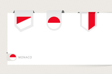 Wall Mural - Label flag collection of Monaco in different shape. Ribbon flag template of Monaco