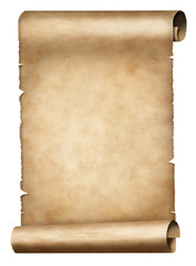 old parchment or papyrus scroll isolated on white