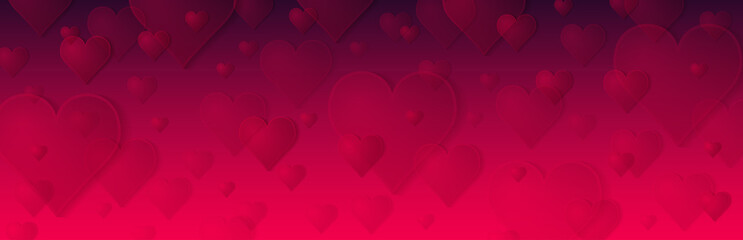 Wall Mural - Red banner with valentines hearts. Valentines greeting banner. Horizontal holiday background, headers, posters, cards, website. Vector illustration