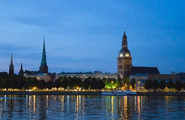 Wall Murals Kiev Riga, Latvia. View of the night city across the Daugava River..