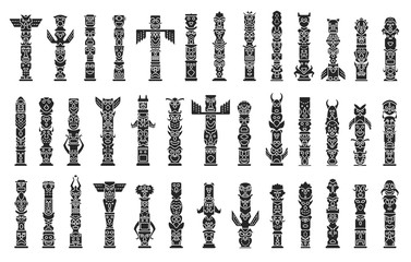 Totem vector black set icon. Vector illustration set tribal mask. Isolated black icon traditional totem on white background .