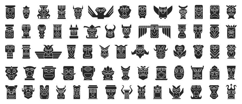 Native totem vector black set icon.Vector illustration animal mask on white background.Isolated set icon native totem.