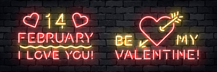 Vector set of realistic isolated neon sign of Valentines Day for template decoration and layout covering on the wall background.