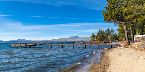 The Lake Tahoe in Nevada and California, panorama of a pontoon for mooring boats in winter