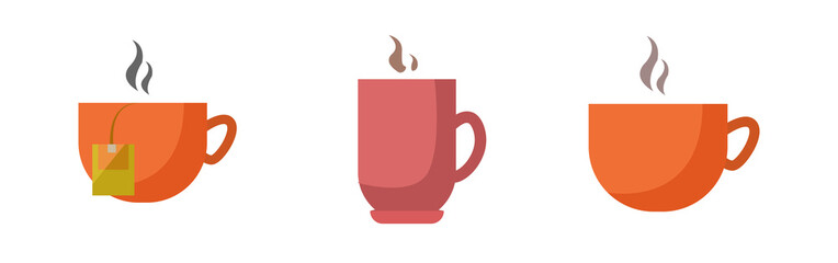 Coffee cup flat icon set with cup of tea