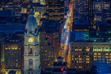Wall Mural - Top view of downtown skyline Philadelphia in Pennsylvania, USA