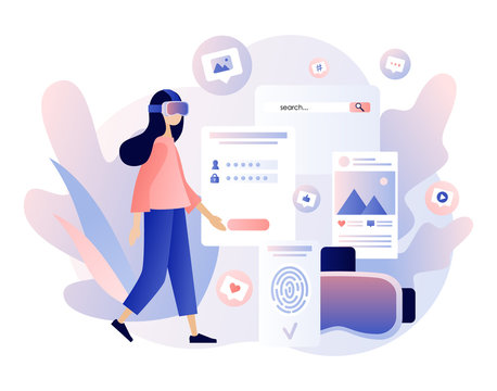 Virtual reality concept. Tiny girl using virtual reality glasses. VR cyberspace. Modern flat cartoon style. Vector illustration on white background
