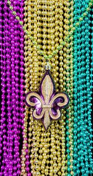 fleur de lys on the Mardi Gras necklaces