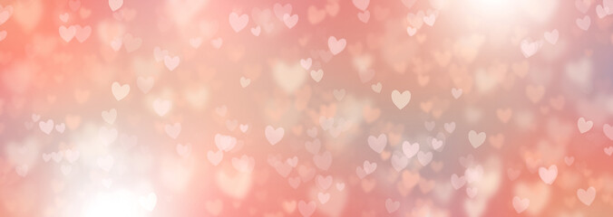 Hearts Abstract Background in Pink Pastel colors. Happy Valentine's Day Banner. Hearts bokeh. Love pattern. Spring tones Valentines Day Poster Fotomurales
