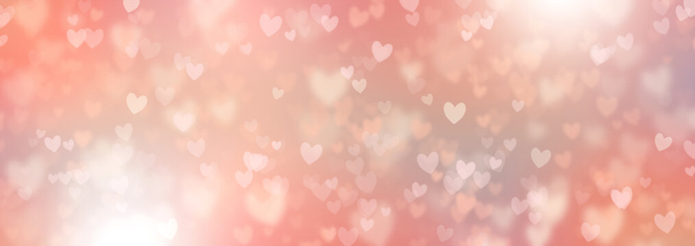 Hearts Abstract Background in Pink Pastel colors. Happy Valentine's Day Banner. Hearts bokeh. Love pattern. Spring tones Valentines Day Poster