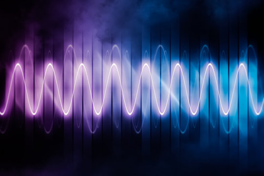 Audio signal or soundwave glowing neon abstract background or backdrop futuristic illustration . Technology, sound and music graphic concepts.