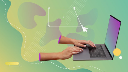 Vector graphic design creation. Hands designing in a laptop. Digital modern collage.