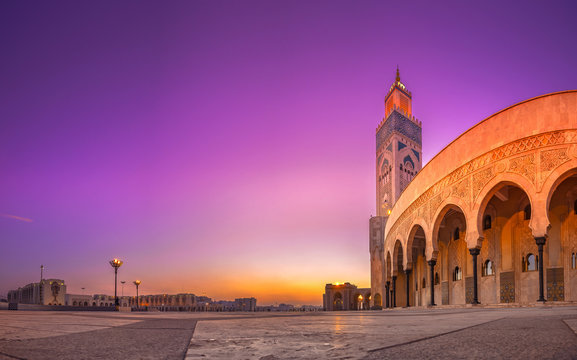 The Hassan II Mosque is a mosque in Casablanca, Morocco. It is the largest mosque in Morocco with the tallest minaret in the world.
