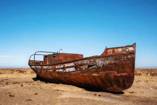 Abandoned boat in desert in Aral sea, Kazakhstan
