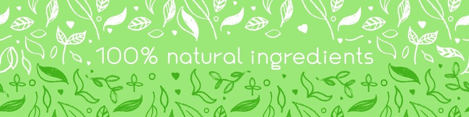 Banner organic ingredients, template design for healthy food concept, vegetarian food banner for eco store and market, eco-friendly background, green thinking concept, environmentally friendly banner. Fototapete
