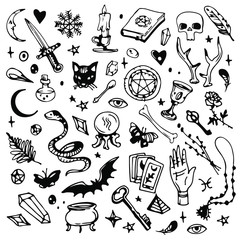 Magic, occult and witchcraft things. Skull, book, crystals, tarot, hand, black cat. Ink drawn doodle set, black and white line art.
