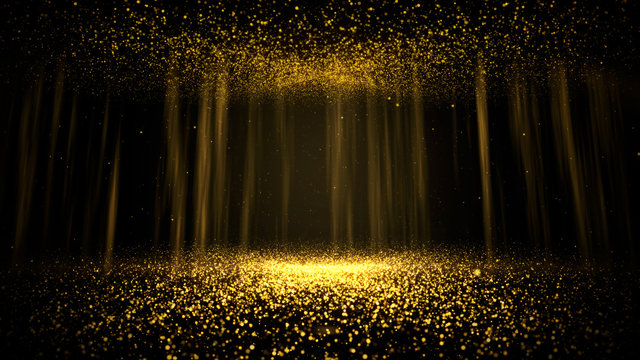 Abstract background shining golden floor ground particles stars dust. Futuristic glittering in space on black background.