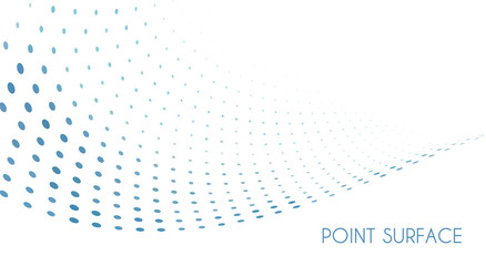 Papiers peints Abstract wave Minimal point surface. Blue dots on white background. Simple pattern