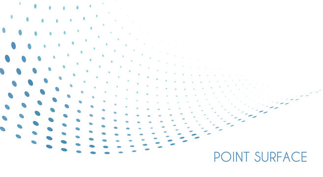 Minimal point surface. Blue dots on white background. Simple pattern
