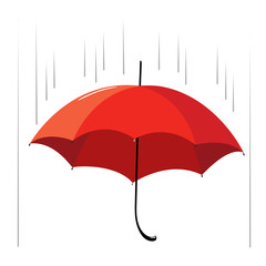 Opened red umbrella with a black pen in the rain. Illustration.
