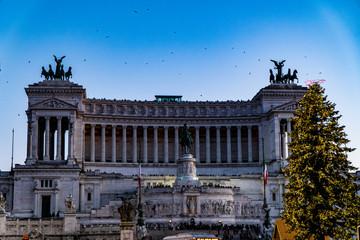 Altare della Patria in piazza venezia with christmas tree - Rome Italy
